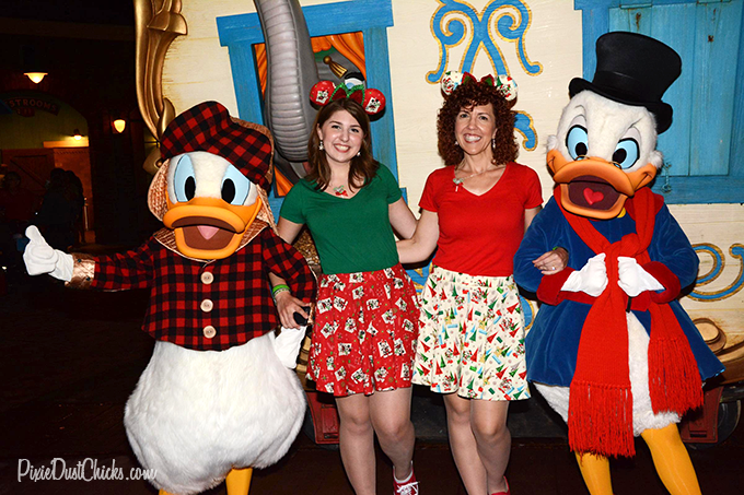 Donald Duck and Scrooge McDuck with us at Mickey's Very Merry Christmas Party at the Magic Kingdom! | PixieDustChicks.com