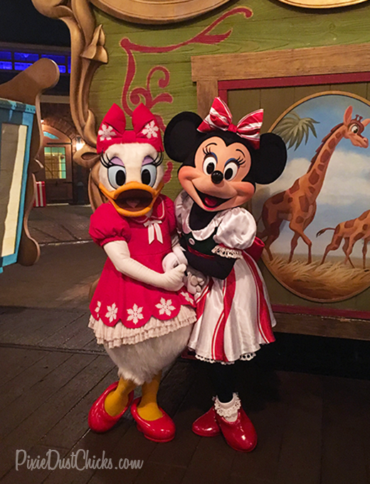 Minnie Mouse and Daisy Duck at Mickey's Very Merry Christmas Party at Disney's Magic Kingdom! | PixieDustChicks.com