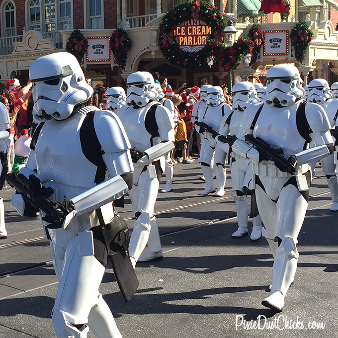 Stormtroopers from the Star Wars series in Disney's Christmas Day Parade 2015 at the Magic Kingdom! | PixieDustChicks.com