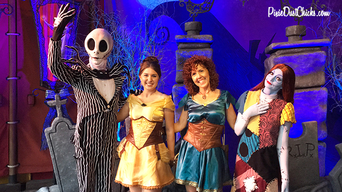 Jack and Sally meeting with us in 2015 at Mickey's Not-So-Scary Halloween Party!